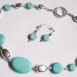 Blue Turquoise Handmade Necklace &amp; Earring Set