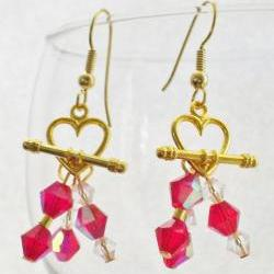 Toggle Earrings, RED Crystal Sweet Heart