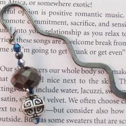 Beaded Bookmark, Gun Metal Gray