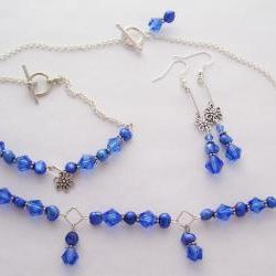 Cobalt Blue Crystal & Fresh Water Pearl Necklace Set